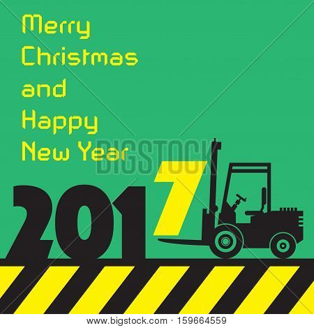 Happy New Year greeting card - fork lift truck at work vector illustration