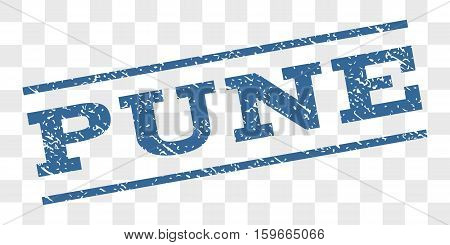 Pune watermark stamp. Text tag between parallel lines with grunge design style. Rubber seal stamp with dust texture. Vector cobalt blue color ink imprint on a chess transparent background.