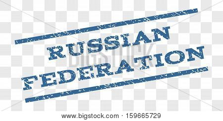 Russian Federation watermark stamp. Text caption between parallel lines with grunge design style. Rubber seal stamp with dirty texture.