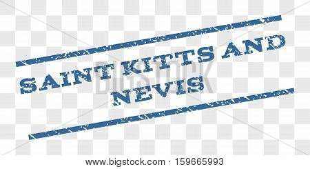 Saint Kitts and Nevis watermark stamp. Text caption between parallel lines with grunge design style. Rubber seal stamp with unclean texture.
