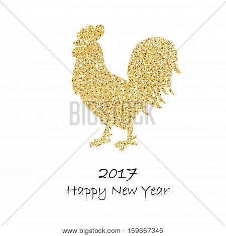 Background for 2017 Chinese new year. The year of rooster. Vector illustration. 2017 new year of rooster. Black lettering 2017 new year and decorated with gold rooster
