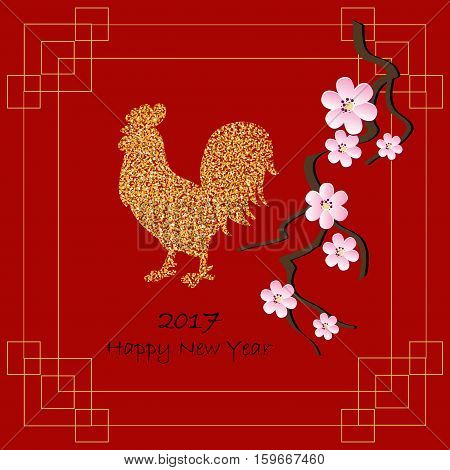 Background for 2017 Chinese new year. The year of rooster. Vector illustration. 2017 new year of rooster. Black lettering 2017 new year blossom branch and decorated with gold rooster