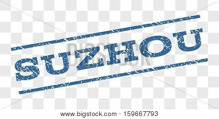 Suzhou watermark stamp. Text caption between parallel lines with grunge design style. Rubber seal stamp with scratched texture. Vector cobalt blue color ink imprint on a chess transparent background.