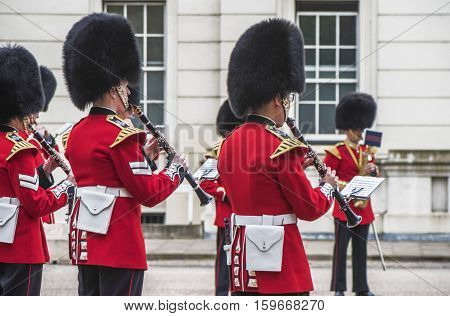 London, the UK - May 2016: Royal guards orchestra near Whitehall
