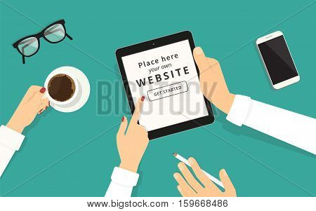 Human female hand showing something displayed on tablet pc white screen to her male colleague. Business illustration on green background with screen blank for placing screenshots and advertising