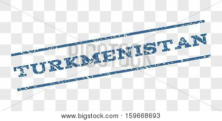 Turkmenistan watermark stamp. Text caption between parallel lines with grunge design style. Rubber seal stamp with dirty texture.