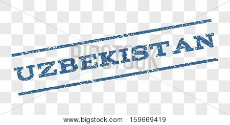 Uzbekistan watermark stamp. Text caption between parallel lines with grunge design style. Rubber seal stamp with scratched texture.