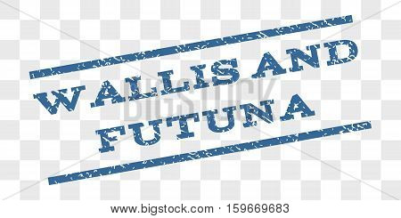 Wallis and Futuna watermark stamp. Text caption between parallel lines with grunge design style. Rubber seal stamp with unclean texture.
