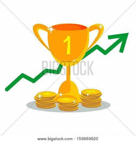 Trophy cup with with coins in flat style. Icon gold goblet, medieval goblet. Flat symbol cup champion. Concept of victory, award, championship, achievement. Isolated cup prize or cup winner.