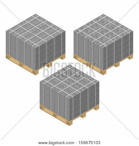 Wooden pallets with various cinder blocks isolated on white background. Building materials design elements. Flat 3D isometric style vector illustration.