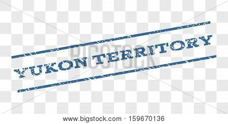 Yukon Territory watermark stamp. Text tag between parallel lines with grunge design style. Rubber seal stamp with dirty texture. Vector cobalt blue color ink imprint on a chess transparent background.