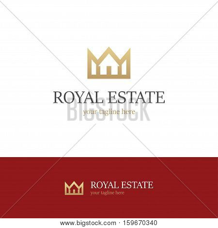 Golden logo with house and crown on white and red backgrounds. Royal estate icon