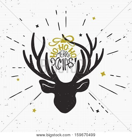 Ho-ho-ho merry xmas with deer black head silhouette. Retro fashioned illustration of vintage wrapped handwritten christmas text on deer horn. Hipster sunburst rays engrave isolated on white background