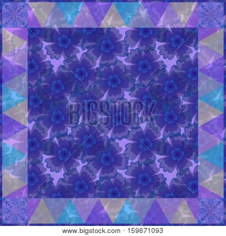 Square pattern with delicate blue flowers and geometric ornament. Bandana print. Silk neck scarf or kerchief design style for print.