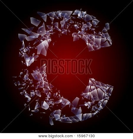Alphabetic characters of broken glass. Sensitive to the background. Character c