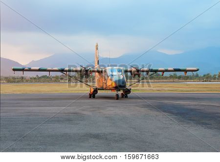 twin-screw plane at the airport in Lombok Indonesia