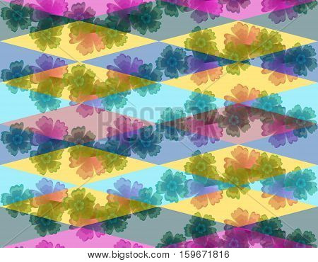 Seamless textile pattern. Flowers and colorful rhombuses.