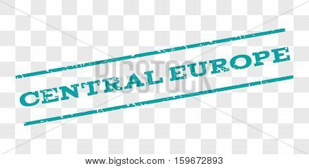 Central Europe watermark stamp. Text caption between parallel lines with grunge design style. Rubber seal stamp with unclean texture. Vector cyan color ink imprint on a chess transparent background.
