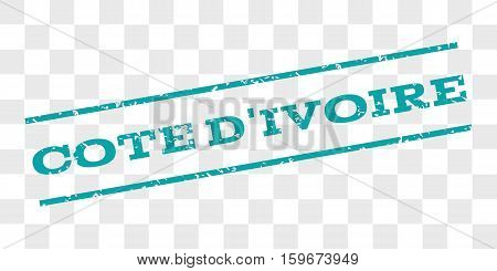 Cote D'Ivoire watermark stamp. Text caption between parallel lines with grunge design style. Rubber seal stamp with dust texture. Vector cyan color ink imprint on a chess transparent background.