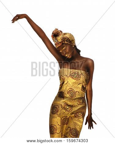 Portrait of cheerful african woman with creative gold make-up and turban