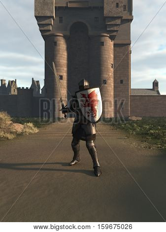 Illustration of a Medieval knight in Italian Milanese style armour defending a castle gate, digital illustration (3d rendering)