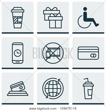 Set Of 9 Airport Icons. Can Be Used For Web, Mobile, UI And Infographic Design. Includes Elements Such As Credit, Drink, Paralyzed And More.