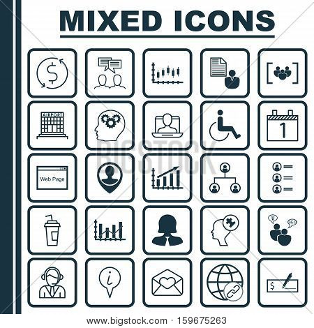 Set Of 25 Universal Editable Icons. Can Be Used For Web, Mobile And App Design. Includes Elements Such As Human Mind, Bank Payment, Operator And More.