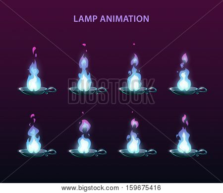 Magic lamp animation sprites. Blue fire frames for web or game design.