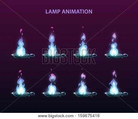 Magic lamp animation sprites. Blue fire frames for web or game design.