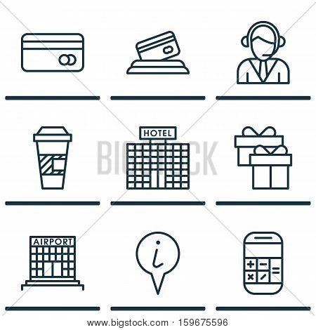 Set Of 9 Transportation Icons. Can Be Used For Web, Mobile, UI And Infographic Design. Includes Elements Such As Calculation, Debit, Coffee And More.