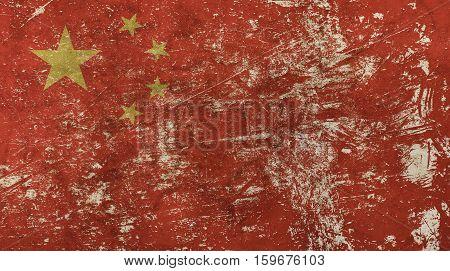 Old Grunge Vintage Faded China Republic Flag
