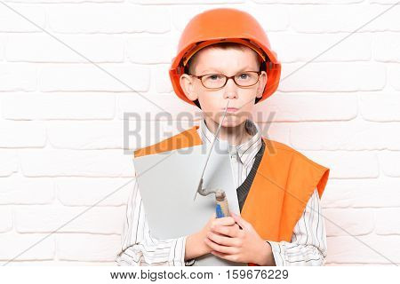 Young Cute Builder Boy
