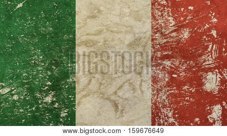 Old Grunge Vintage Faded Flag Of Italy