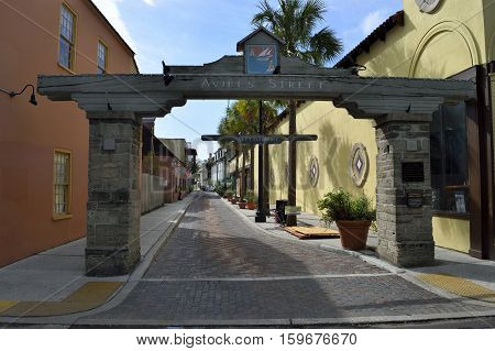 Aviles Street oldest public street in the country located at St. Augustine, Florida, USA