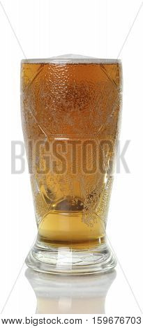 large mug of light beer. tasty beverage in a pint of beer on white background