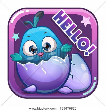 Cartoon app icon with funny cute blue newborn bird. Application store item template. Vector asset for game or web design.