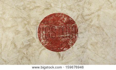 Old grunge vintage dirty faded shabby distressed Japan Nippon or Nihon koku flag background