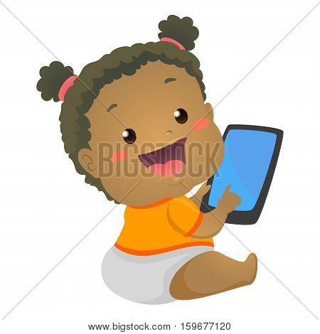 Vector Illustration of Black Baby Girl using Mobile Tablet