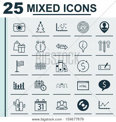 Set Of 25 Universal Editable Icons. Can Be Used For Web, Mobile And App Design. Includes Elements Such As Employee Location, Coaching, Social Profile And More.