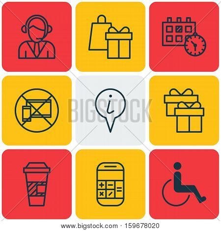 Set Of 9 Traveling Icons. Can Be Used For Web, Mobile, UI And Infographic Design. Includes Elements Such As Paralyzed, Disabled, Takeaway And More.