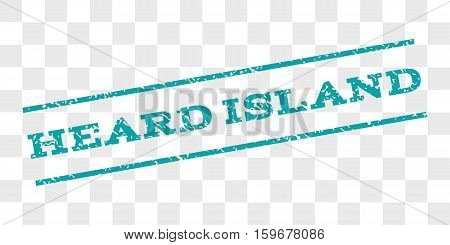 Heard Island watermark stamp. Text tag between parallel lines with grunge design style. Rubber seal stamp with dirty texture. Vector cyan color ink imprint on a chess transparent background.