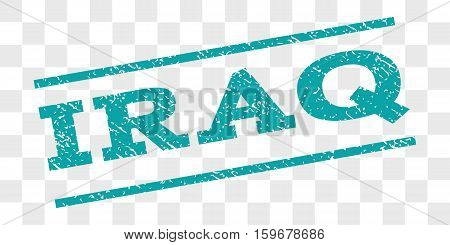 Iraq watermark stamp. Text caption between parallel lines with grunge design style. Rubber seal stamp with unclean texture. Vector cyan color ink imprint on a chess transparent background.