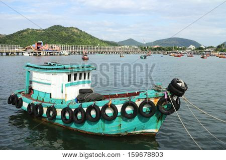 Generic Small Green Fishing Ship of Thailand