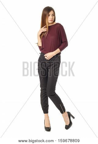Уoung Beautiful Brunette In Burgundy Blouse And Black Trousers