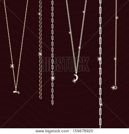 jewelry on a dark background bracelets and chains