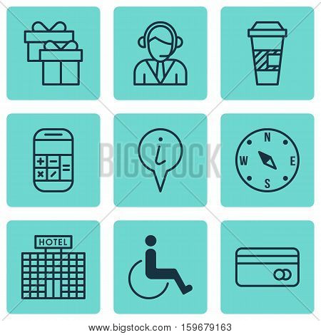 Set Of 9 Traveling Icons. Can Be Used For Web, Mobile, UI And Infographic Design. Includes Elements Such As Takeaway, Paralyzed, Calculator And More.
