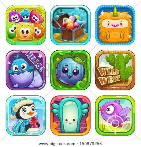 Funny app icons set. Vector game assets for application store. Cartoon childish illustrations.