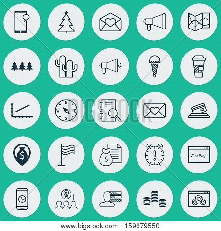 Set Of 25 Universal Editable Icons. Can Be Used For Web, Mobile And App Design. Includes Elements Such As Call Duration, Credit Card, Takeaway Coffee And More.