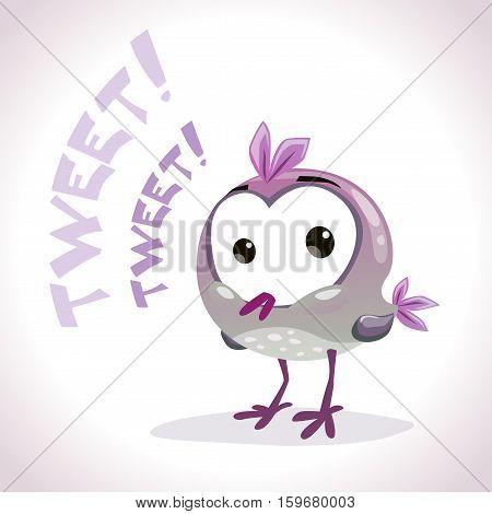Little cute cartoon comic tweetting bird. Vector illustration