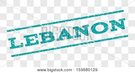 Lebanon watermark stamp. Text tag between parallel lines with grunge design style. Rubber seal stamp with dust texture. Vector cyan color ink imprint on a chess transparent background.